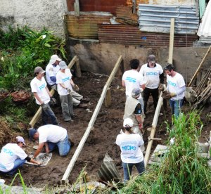 laying foundation for Juan Jesus' new house