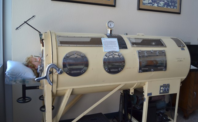 iron lung display at the Sacramento Medical Museum