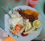 Sharing a plate of Bendeja con chorizo