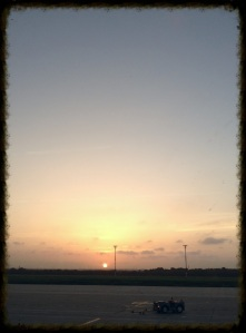 Sunset in on the air field as I prepare to leave Barranquilla