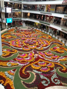 indoor flower garden at upscale mall in Medellin