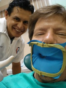 One of my colleagues field tests dentistry services with Dr. Quintana and his associates