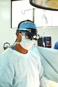 photo showing Dr. B and his helmet light.