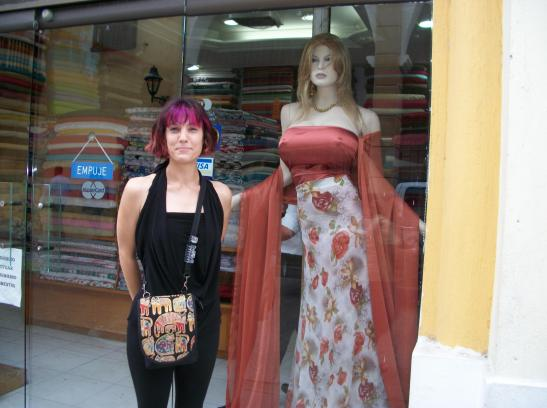 Outside a fabric store (with a very well-endowed friend) in Cartagena (photo Aug 2011)