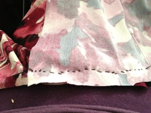 One of my preliminary handsewn seams.  (They are prettier when I finish).