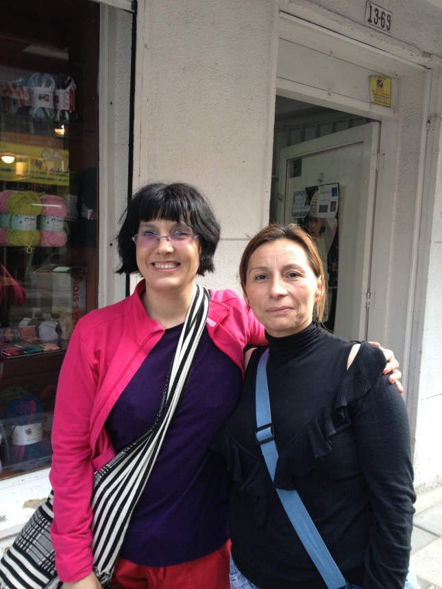 with Ligia, shopping for yarn in Bogota