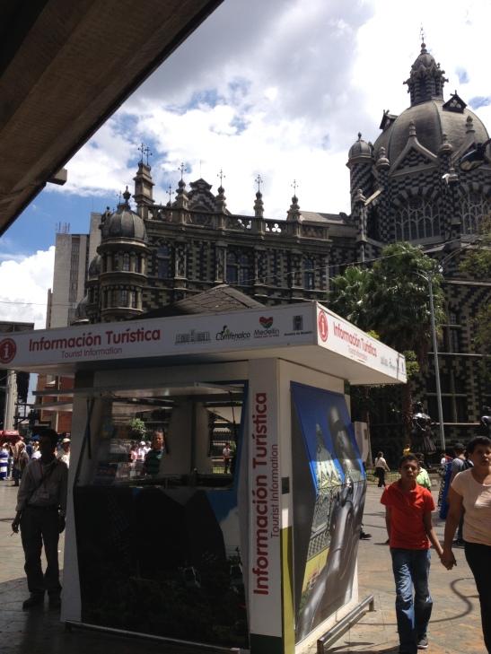 tourist kiosk with maps